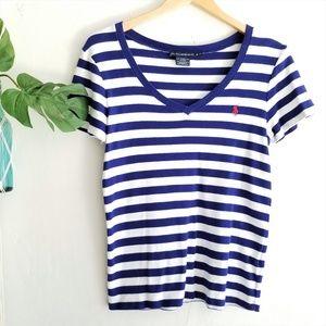 RALPH LAUREN Sport Blue Striped Short Sleeve Tee